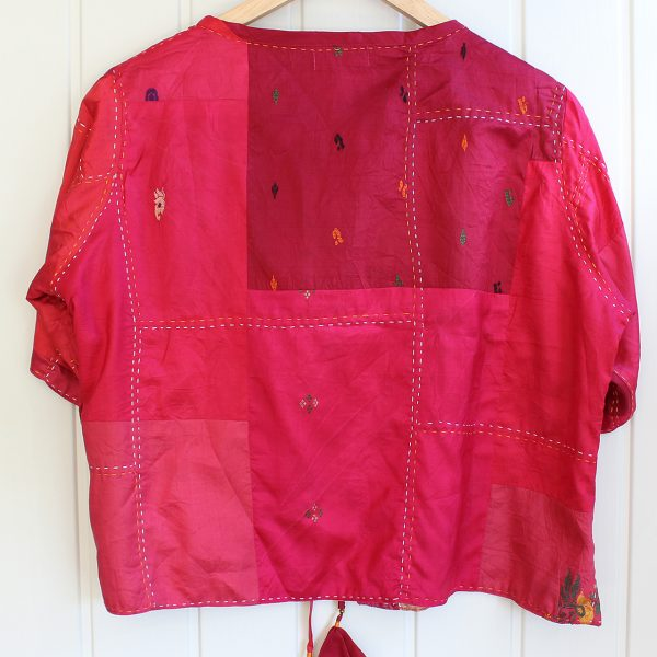 Red Pure Silk Hand Stitched Cover Up