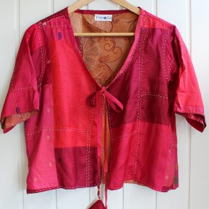 red pure silk shrug cover up