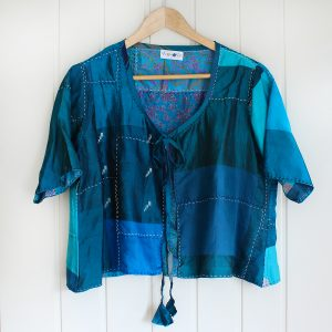 Teal Pure Silk Hand Stitched Cover Up