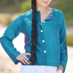 Deep Turquoise Hand Stitched Recycled Silk Sari Ladies Jacket