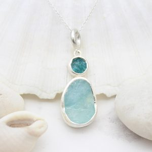 Aquamarine And Apatite Natural Gemstone Handmade Sterling Silver Pendant