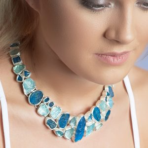 Made to Order Aquamarine And Neon Apatite Gemstone Sterling Silver Ladies Statement Necklace