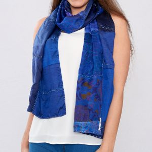 Rich Blue Handstitched Recycled Silk Scarf