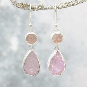 Morganite Double Gemstone Handmade Sterling Silver Ladies Earrings