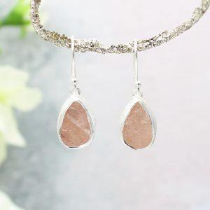 Morganite Gemstone Handmade Sterling Silver Ladies Earrings