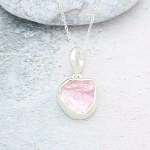 Morganite Natural Gemstone Handmade Sterling Silver Pendant