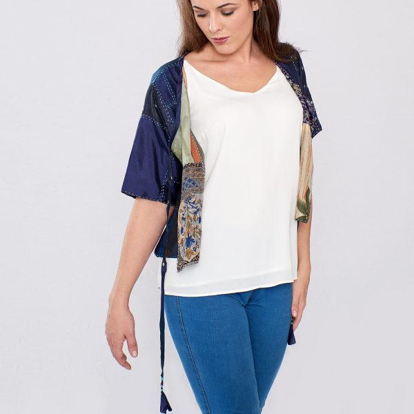 Navy Blue Pure Silk Hand Stitched Ladies Cover-up