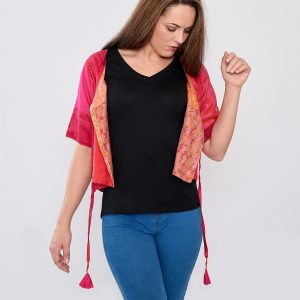 Red Pure Silk Hand Stitched Ladies Cover-up