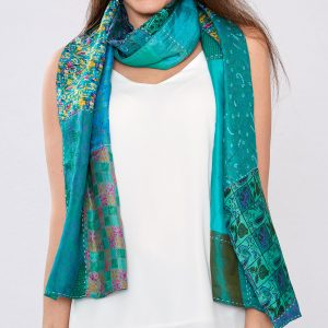 Jade Green Pure Silk Reversible Handstitched Scarf