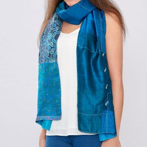Teal Pure Silk Reversible Hand Stitched Scarf
