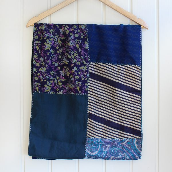 Navy Blue Pure Silk Reversible Handstitched Scarf