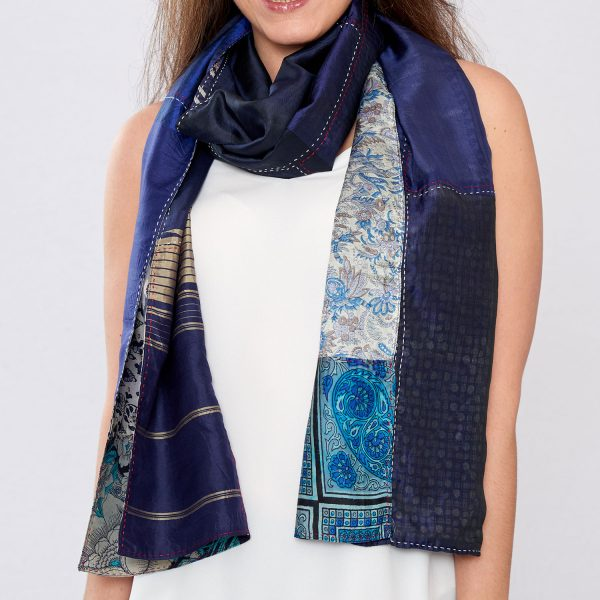 Navy Blue Pure Silk Reversible Hand Stitched Scarf