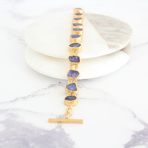 Tanzanite Gemstone Handmade Gold Vermeil Bracelet