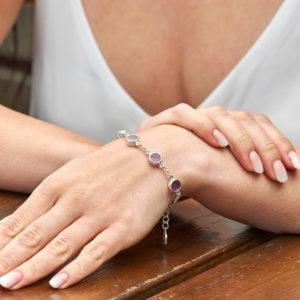Amethyst Gemstone Handmade Sterling Silver Ladies Bracelet