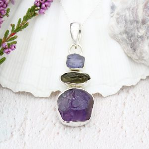 Amethyst, Tanzanite And Moldavite Gemstone Handmade Sterling Silver Pendant