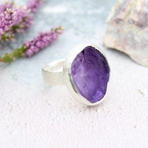 Amethyst Gemstone Chunky Adjustable Ladies Sterling Silver Ring
