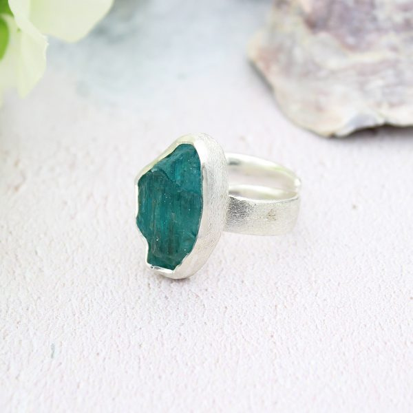 Apatite Gemstone Chunky Adjustable Ladies Silver Ring