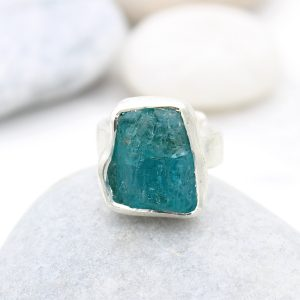 Apatite Gemstone Chunky Adjustable Ladies Sterling Silver Ring