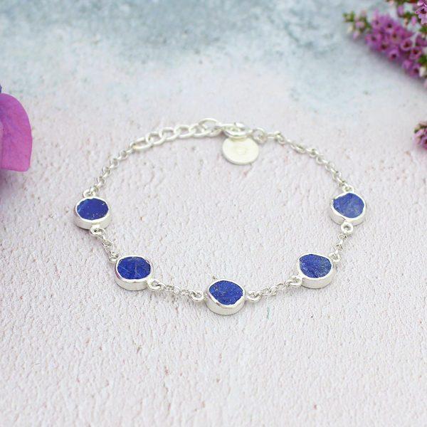 Lapis Lazuli Gemstone Handmade Sterling Silver Ladies Bracelet