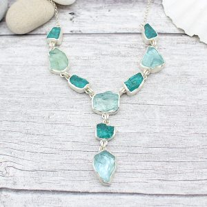 Statement Handmade Aquamarine & Apatite Gemstone Ladies Silver Necklace