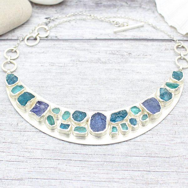 Statement Handmade Apatite & Tanzanite Gemstone Necklace