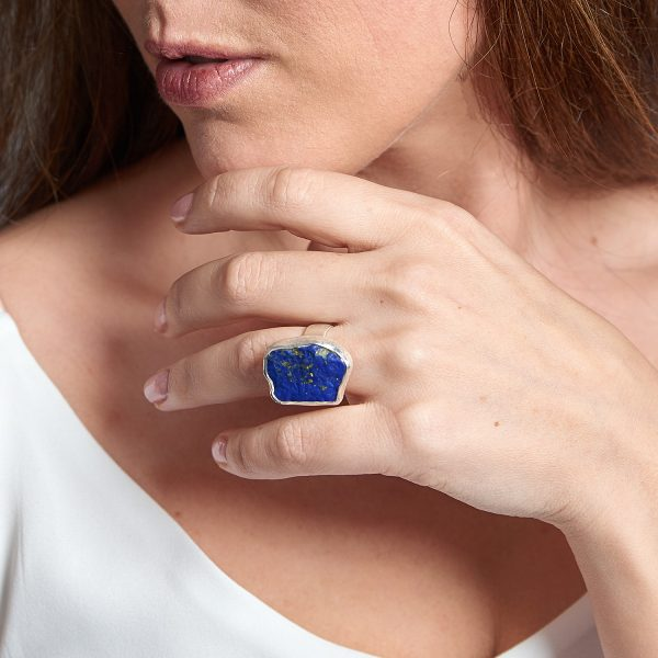 Lapis Lazuli Chunky Adjustable Ladies Sterling Silver Ring