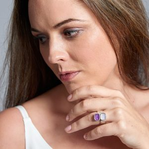 Amethyst & Lilac Quartz Gemstone Ladies Statement Adjustable Silver Ring