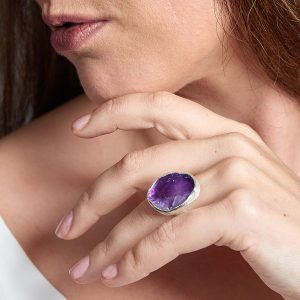 Amethyst Gemstone Chunky Adjustable Ladies Sterling Silver Ring
