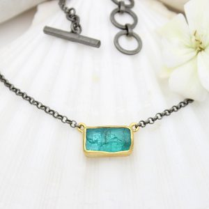 Apatite Gemstone Gold & Rhodium Plated Silver Necklace
