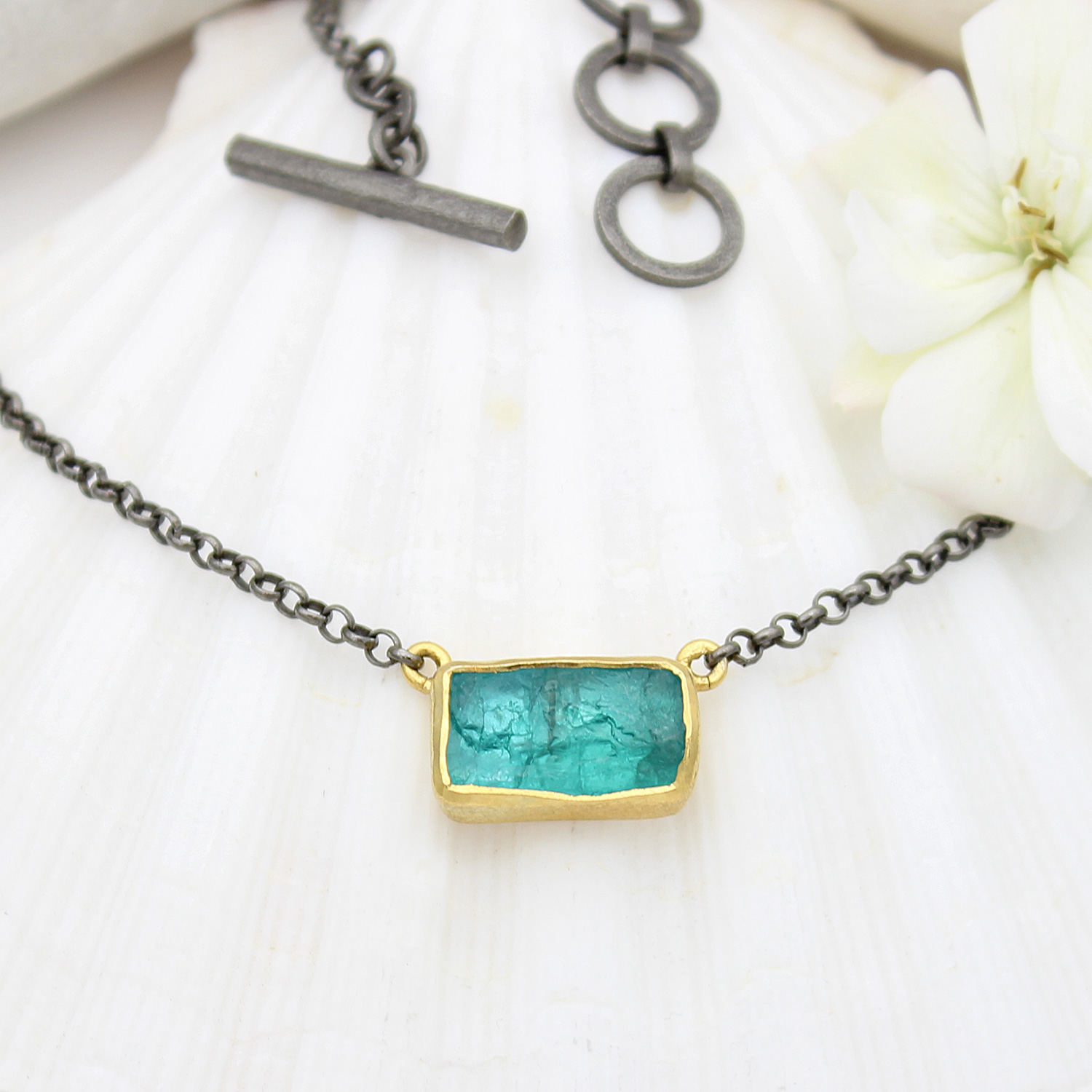 89cf2a789a5c16 Apatite Gemstone Gold & Rhodium Plated Silver Necklace - Poppy Jewellery