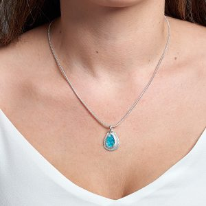 Coastal Apatite Gemstone Pebble Pendant Necklace