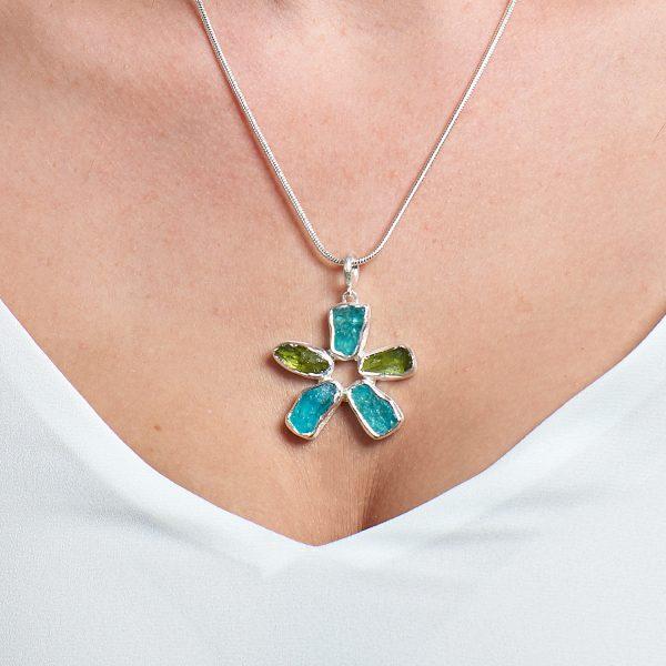 Handmade Peridot & Apatite Gemstone Flower Ladies Pendant