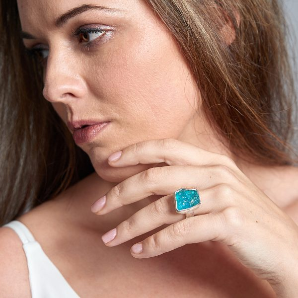 Apatite Gemstone Chunky Adjustable Ladies Sterling Silver Ring