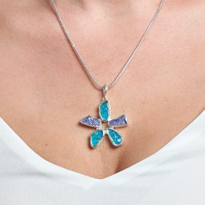 Handmade Apatite & Tanzanite Gemstone Flower Ladies Pendant