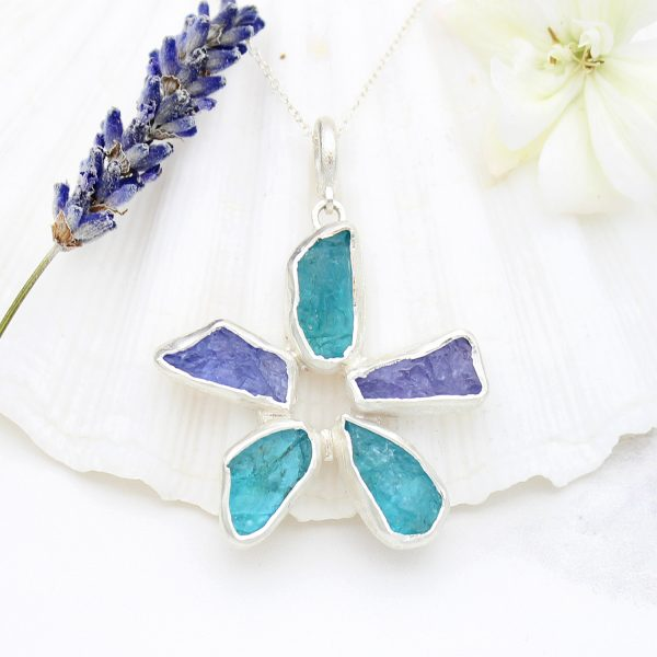 Handmade Apatite & Tanzanite Gemstone Flower Ladies Pendant