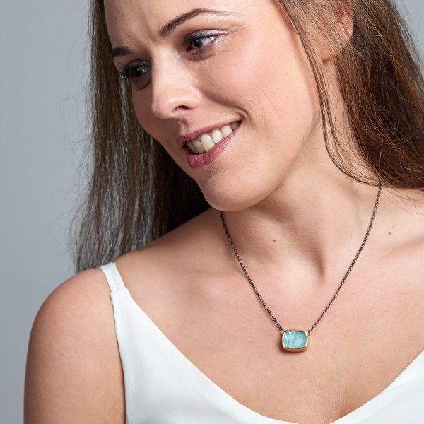 Aquamarine Gemstone Gold & Rhodium Plated Silver Necklace