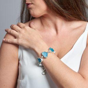 Aquamarine & Apatite Gemstone Chunky Handmade Sterling Silver Ladies Bracelet