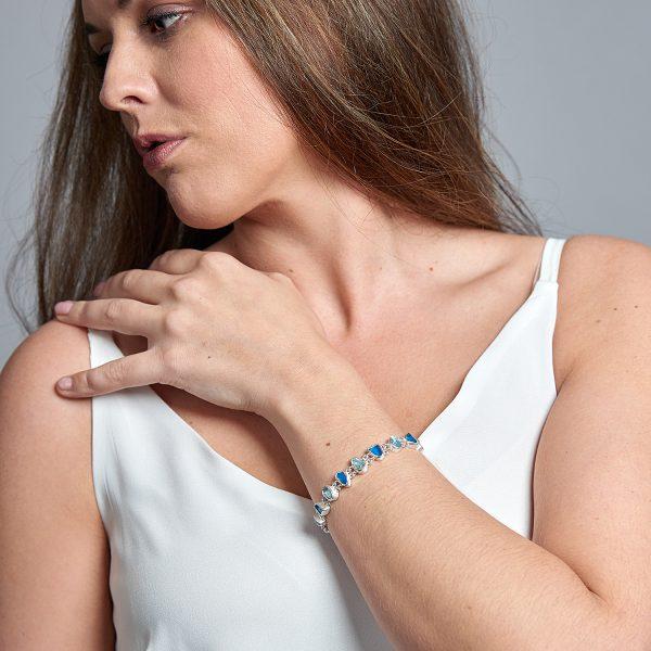 Neon Apatite & Aquamarine Gemstone Handmade Silver Ladies Bracelet