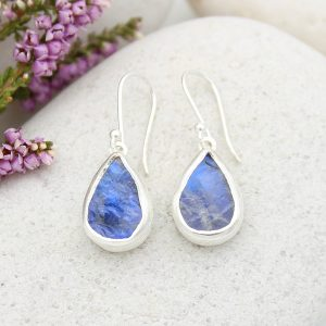 Rainbow Moonstone Gemstone Handmade Sterling Silver Ladies Earrings