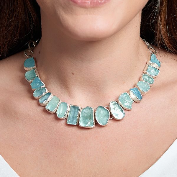 Made to Order Aquamarine Gemstone Sterling Silver Ladies Statement Necklace