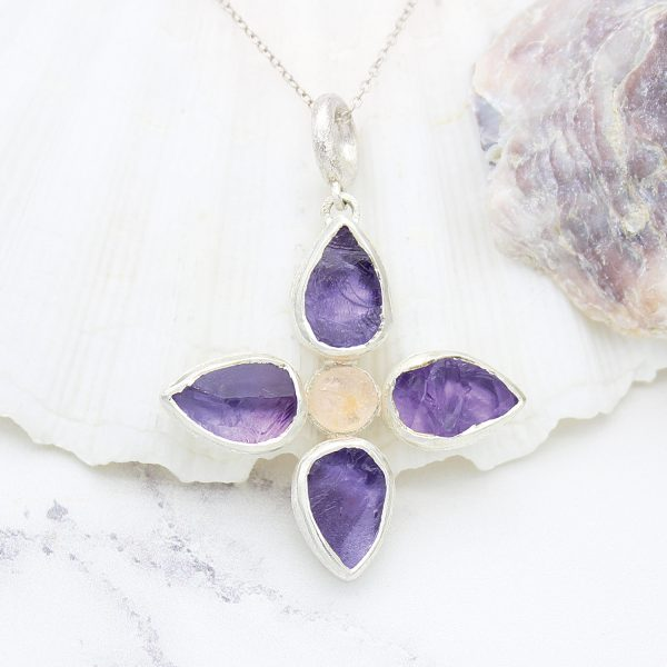 Handmade Amethyst & Rose Quartz Gemstone Flower Ladies Pendant