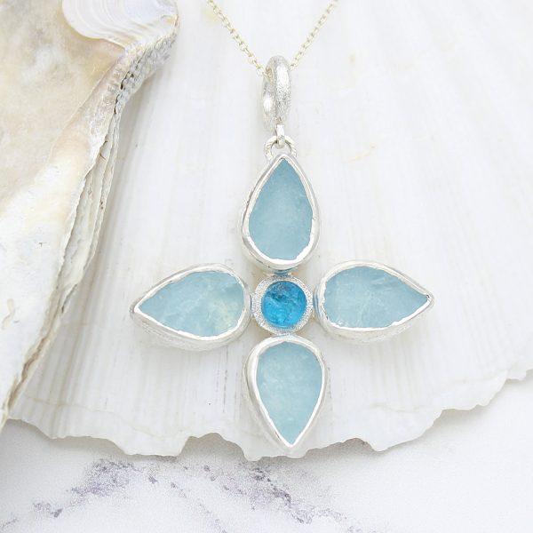 Handmade Aquamarine & Apatite Gemstone Flower Ladies Pendant