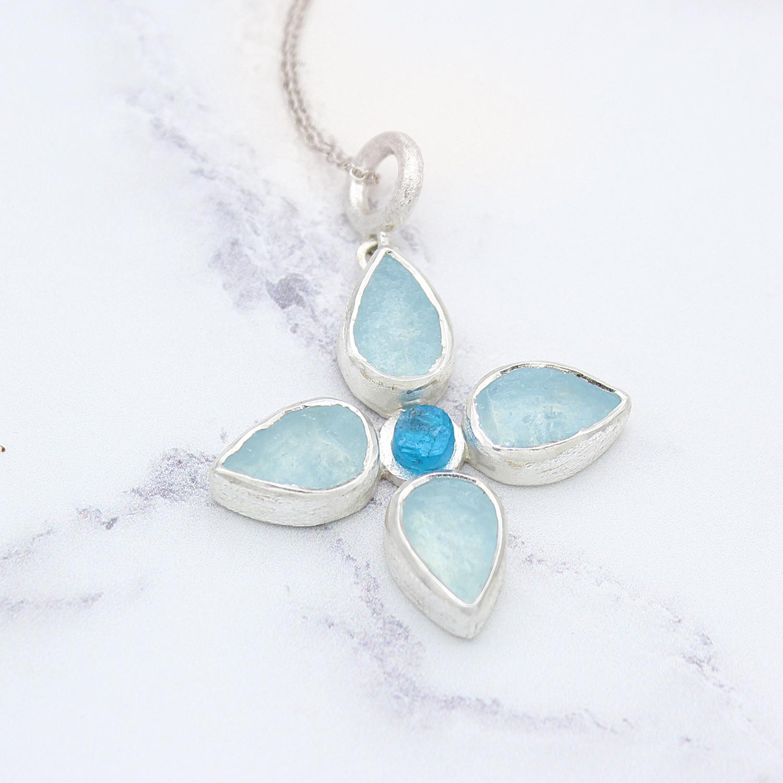 Gemstone flower pendant