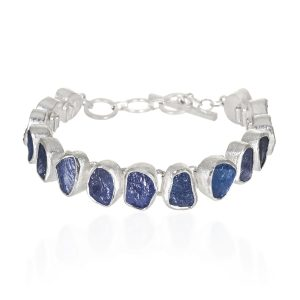 Tanzanite gemstone ladies sterling silver bracelet