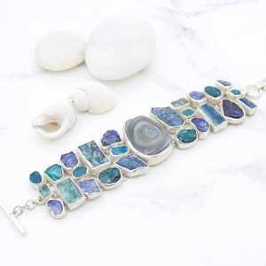 Handmade Ladies Apatite, Tanzanite, Kyanite And Drusy Gemstone Silver Bracelet