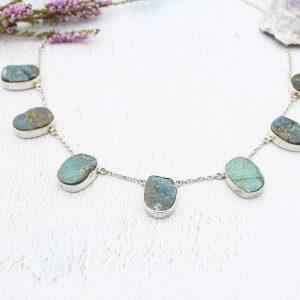 Labradorite Gemstone Handmade Ladies Sterling Silver Necklace