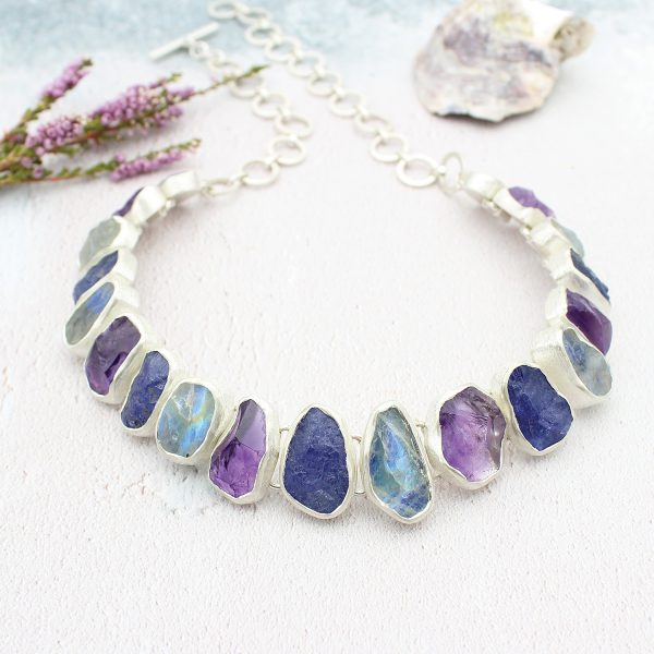 Handmade Tanzanite, Rainbow Moonstone & Amethyst Silver Statement Necklace
