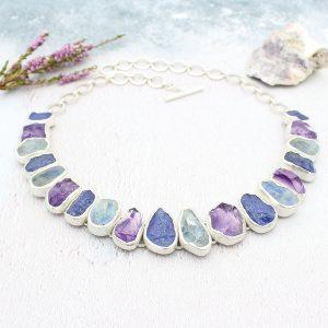 Handmade Tanzanite, Rainbow Moonstone & Amethyst Silver Statement Necklace