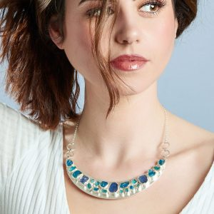 Statement Handmade Apatite & Tanzanite Gemstone Necklace