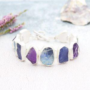 Handmade Tanzanite, Rainbow Moonstone & Amethyst Silver Bracelet